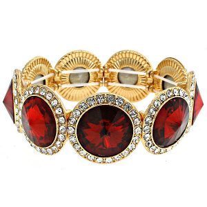 075-Wide-Red-Round-Glass-Clear-Crystals-Bangle-Bracelet-Pageant-Bridal-172502242950
