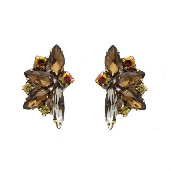 "1"" Drop Green Tapestry Collection Clip On Earring By Sorrelli, Brown Crystals"