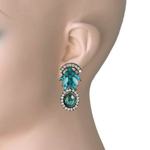 112-Drop-Post-Earrings-Pool-Turquoise-Blue-Rhinestones-Lucite-Beads-172548405440