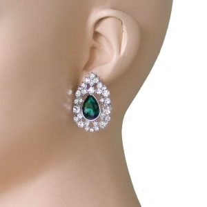 125-Drop-Filigree-Earrings-Clear-Green-Crystals-Silver-Tone-Bridal-361909041500