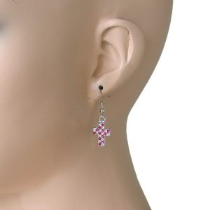 125-Drop-Small-Cross-Earrings-Fuchsia-Pink-Rhinestones-Goth-Punk-Pierced-172528932630