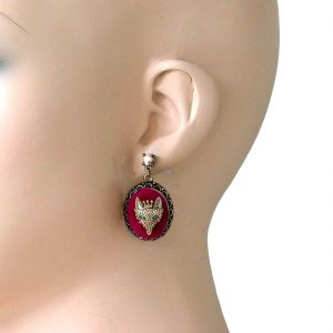 15-Drop-Queen-Fox-Cameo-On-Red-Velvet-Earrings-By-Betsey-Johnson-Crystals-NWT-361874617490