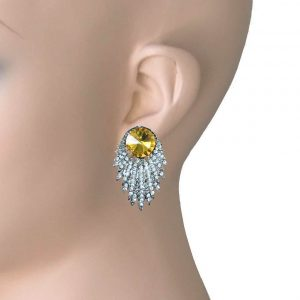 15-Drop-Yellow-Crystals-Clip-On-Evening-Earrings-Pageant-Drag-Queen-Bridal-362028028880