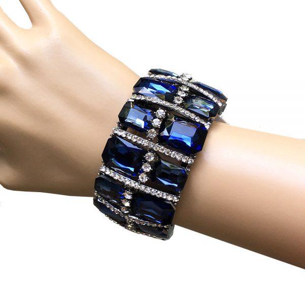 "1.5"" Wide Glass Montana Navy Blue Glass Stretch Bracelet, Drag Queen, Pageant"