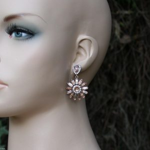 155-Long-Gold-Tone-Circular-Dangle-Earrings-Clear-Crystals-and-Beige-Glass-171952129580