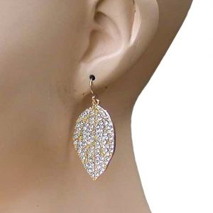 175-H-Leaf-Shape-Clear-Crystals-Earrings-Pierced-Hook-Style-Pageant-Bridal-172809051720
