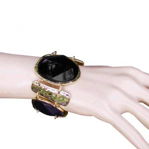 175-Wide-Faceted-Black-Lucite-Beads-Golden-Hammered-Metal-Statement-Bracelet-172696958770