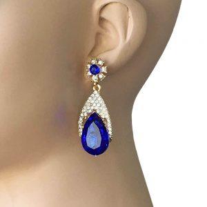 218-Long-Earrings-Royal-Blue-Clear-Rhinestones-Gold-TonePageant-Bridal-361956003070