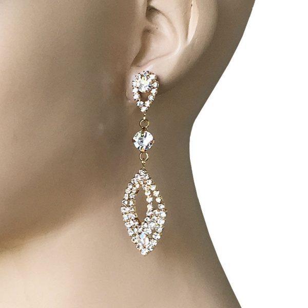"2.75"" Long Clear Rhinestones Linear Post Evening Earrings, Pageant, Bridal"