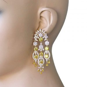 275-Long-Clear-Yellow-Cubic-Zircon-Evening-Earrings-Pageant-Drag-Queen-172465114820