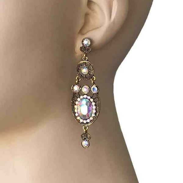 "2.75"" Long Earrings, Aurora Borealis Rhinestones, Drag Queen, Pageant, Bridal"