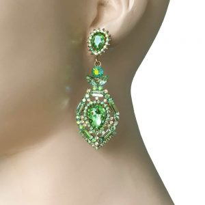 275-Long-Evening-Filigree-Earrings-Light-Green-Rhinestones-Glass-Pageant-172572755330