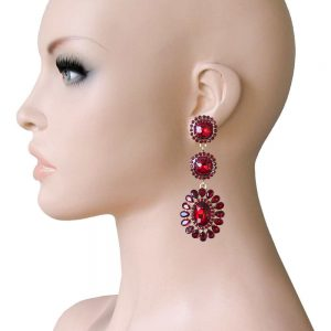 275-Long-Linear-Clip-On-Earrings-Rose-Pink-Rhinestones-Drag-Queen-Pageant-172753681620