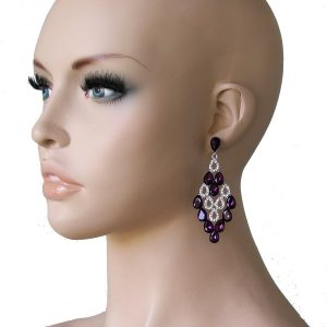 275-Long-Purple-Glass-Clear-Crystals-Chandelier-Earrings-Bridal-Pageant-172209343090