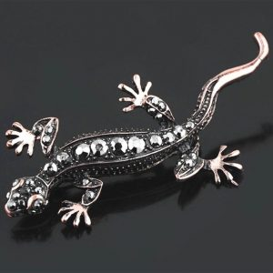 275-Tall-Copper-Tone-Simulated-Hematite-Rhinestones-Gecko-Lizard-Brooch-Pin-172663548840