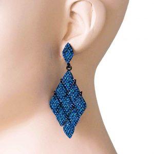 3-Long-Kite-Shaped-Evening-Earrings-Vivid-Blue-Rhinestones-PageantDrag-Queen-172492566270