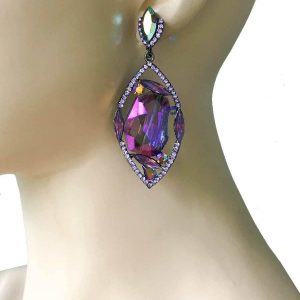 3-Long-Purple-Rhinestones-Earrings-Pageant-Drag-Queen-Bridal-361945208530