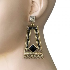 3-Long-Retro-BOHEMIAN-Inspired-Filigree-Geometric-Earrings-Black-Lucite-Beads-172640713560