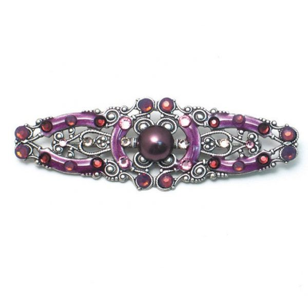 "3"" Wide Brownish Purple Art Deco Pin Brooch Signed By Anne Koplik, Made In USA"