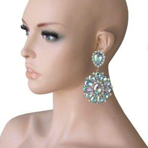 325-Long-Cluster-Clip-On-Earrings-Aurora-Borealis-Rhinestones-Drag-Queen-172668000860