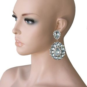 325-Long-Cluster-Clip-On-Earrings-Clear-Rhinestones-Drag-Queen-Pageant-172693653350