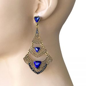 325-Long-Deco-BOHO-Inspired-Filigree-Earrings-Royal-Blue-Rhinestones-Pageant-361982790630