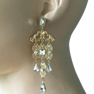 375-Long-Retro-Vintage-Inspired-Golden-Filigree-Earrings-Clear-Lucite-Beads-172640877540
