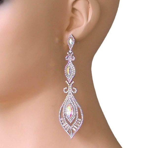 "4"" Long Designer Look Earrings, Aurora Borealis Glass Bridal,Pageant,Drag Queen"