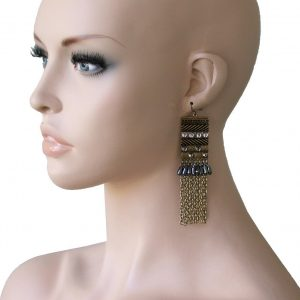 4-Long-Ethnic-Style-Earrings-Antique-Gold-Tone-Rhinestone-Pageant-Hip-Hop-361659226430