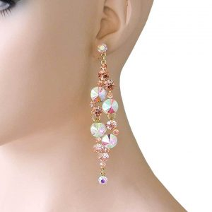 4-Long-Peach-Crystals-AB-Acrylic-Evening-Earrings-PageantDrag-QueenBridal-361970521110