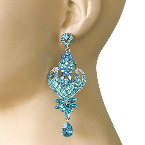 """4"""" Long, Pool Blue Crystal Gunmetal Earrings, Pageant,Drag Queen,Bridal"""