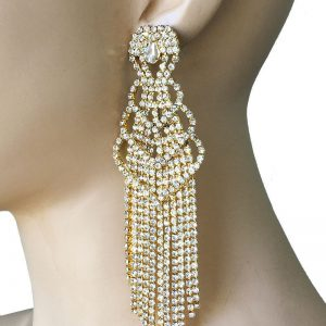 5-Long-Gold-Tone-Clear-Rhinestones-Statemet-EarringsPageantDrag-QueenBridal-172764344280