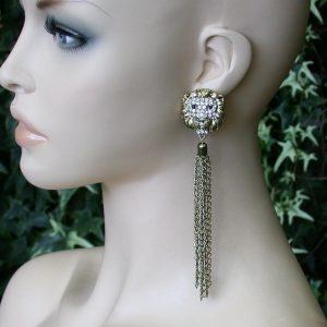55-Long-Post-Style-Tassel-Linear-Earrings-Lion-Face-Drag-Queen-Hip-Hop-361321306600