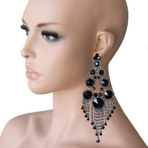 575-Long-Black-Crystals-Huge-Statement-Earrings-Pageant-Showgirl-Drag-Queen-172742570770