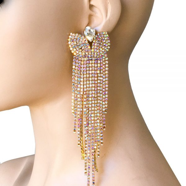 """6.5"""" Long Statement Fringe Earrings, AB Rhinestones,Drag Queen,Showgirl,Pageant"""
