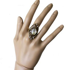 Antique-Gold-tone-Oval-Cocktail-Ring-Clear-Glass-Rhinestones-Pageant-361997339700