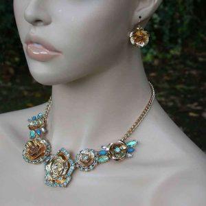 Aqua-Blue-Rhinestones-Floret-Necklace-Earring-Set-Bridal-Pageant-Drag-Queen-172001094200