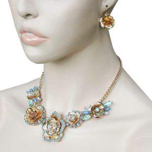 Aqua-Blue-Rhinestones-Floret-Necklace-Earring-Set-Bridal-Pageant-Drag-Queen-361996719060