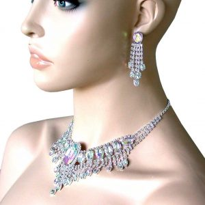 Aurora-Borealis-Rhinestones-Statement-Necklace-Earrings-Set-Bridal-Drag-Queen-172337754520