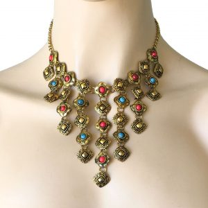Bib-Statement-Necklace-Antique-Gold-Bronze-Tone-Simulated-Coral-Turquoise-172815537440