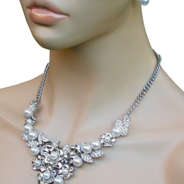 Dainty Bib Floret Necklace Earrings, Crystal & White Faux Pearl, Pageant, Bridal