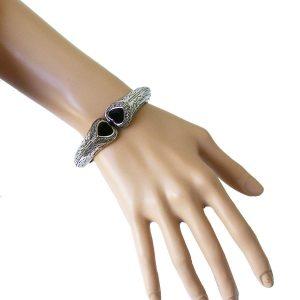 Designer-Inspired-Bangle-Bracelet-With-Hinge-Black-Heart-Shaped-Rhinestones-361672691910