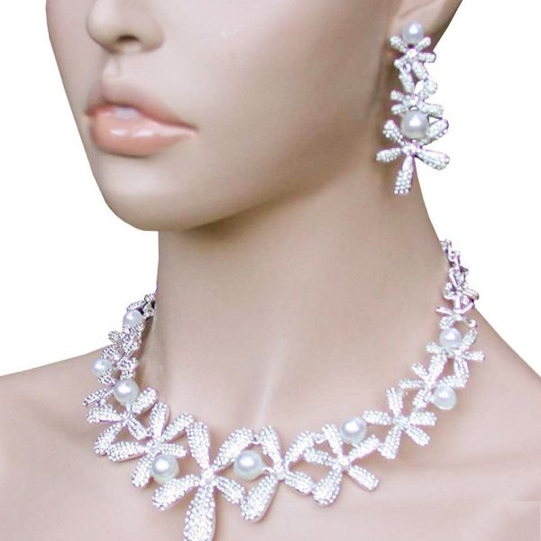 Floral Necklace Earrings Set White Faux Pearls,Clear Rhinestones Pageant, Bridal