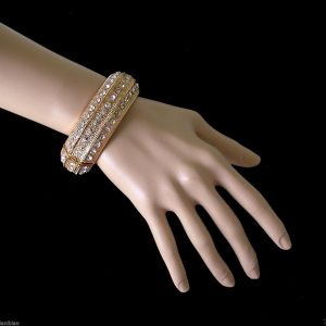 Gold-Tone-Classic-Bangle-Bracelet-Clear-Crystals-By-NatashaPageant-Drag-Queen-361527345820