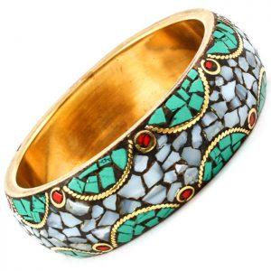 Golden-Mosaic-Bangle-Bracelet-Shards-of-Turquoise-Fake-Coral-Abalone-172347165740