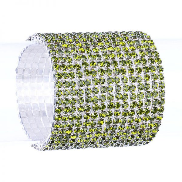 "Gunmetal 2"" Wide Green Crystals Stretch Bracelet, Pageant,Bridal ,Drag Queen"