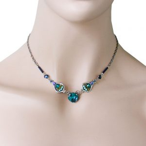 Silver-Plated-Teal-Blue-Crystals-Mosaic-Necklace-By-Clara-Beau-Made-In-USA-361845898380
