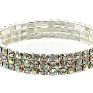 Silver-Tone-05-Wide-Aurora-Borealis-Crystals-Stretch-Bracelet-Pageant-Bridal-172492598640