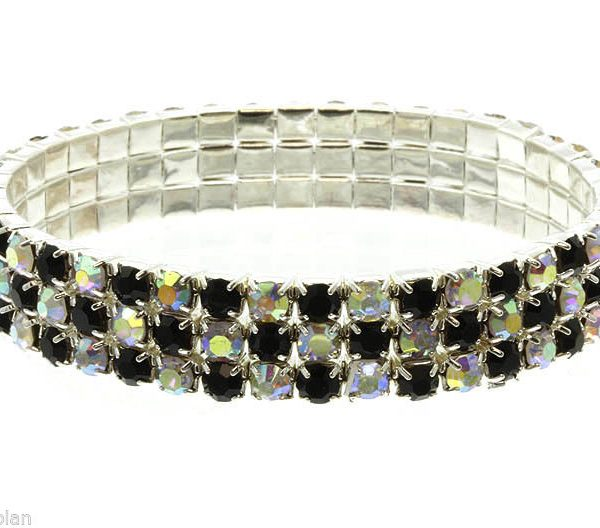 "Silver Tone 0.5"" Wide Black AB Crystals Stretch Bracelet, Pageant, Bridal"