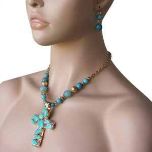 Simulated-Fake-Turquoise-Lucite-Beads-Large-Cross-Necklace-Earrings-Set-361718699650